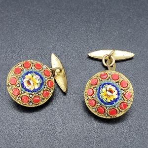 Other - Vintage Italian Mosaic Cufflinks Gold-tone